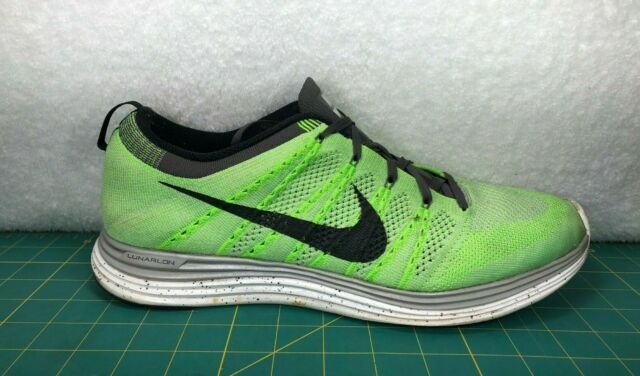 wholesale sales genuine shoes best deals on Nike Flyknit Lunar 1+ Electric Green Volt Gray Running Shoes Sneakers~Mens  Sz 12