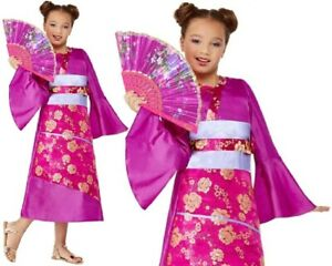 Niños Niñas Geisha Disfraz Para Niña Infantil Japonés Conjunto Smiffys Ebay