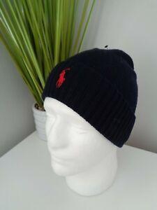 BNWT POLO RALPH LAUREN Navy Fold Over Wool Knit Beanie Hat ... 174f0961d0b2