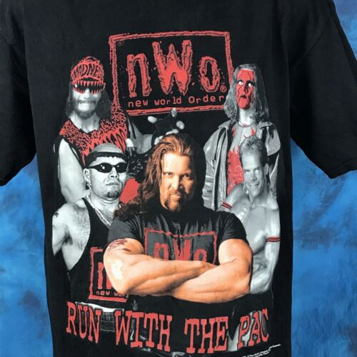 Vtg 90s NWO WRESTLING WOLFPAC T-Shirt L wcw macho