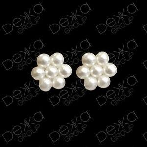 Genuine-925-Sterling-Silver-Pearl-Flower-Mini-Stud-Earrings-Girls-Children-Women