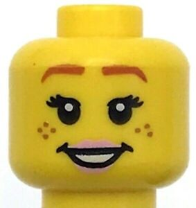 Lego Yellow Minifig Head Dual Sided Female Black brows Freckles Dark Pink Lips S