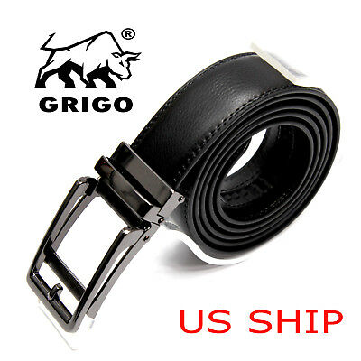 Men's Leather Casual Comfort Dress Belt Automatic Double Stitch Click Buckle