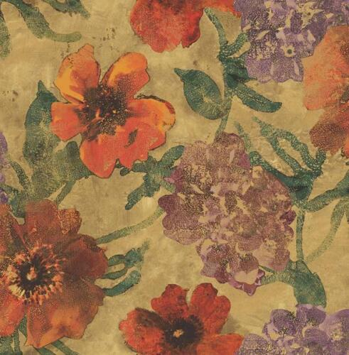 Floral Wallpaper in Atomic Tangerine Vermillion Blossoms with Green Leaves