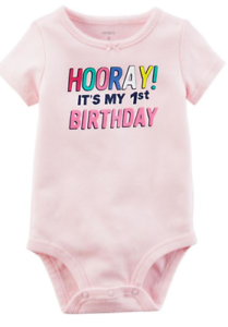 Carter-039-s-Baby-Girls-Bodysuit-Size-9-Months-1st-Birthday-Pink-Cute-Hooray-Party-M