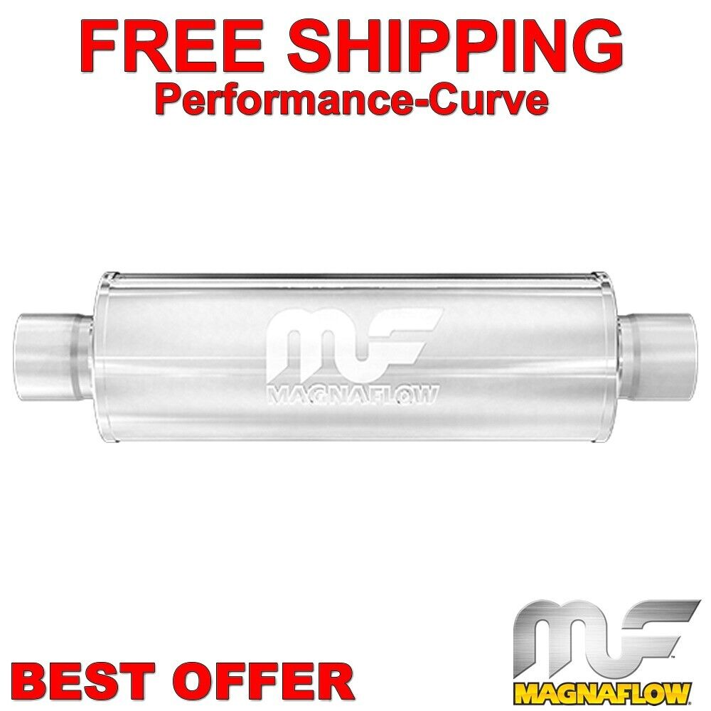 """Magnaflow Polished Performance Muffler 4/"""" Round 14/"""" Body 3/"""" Inlet//Outlet 14419"""