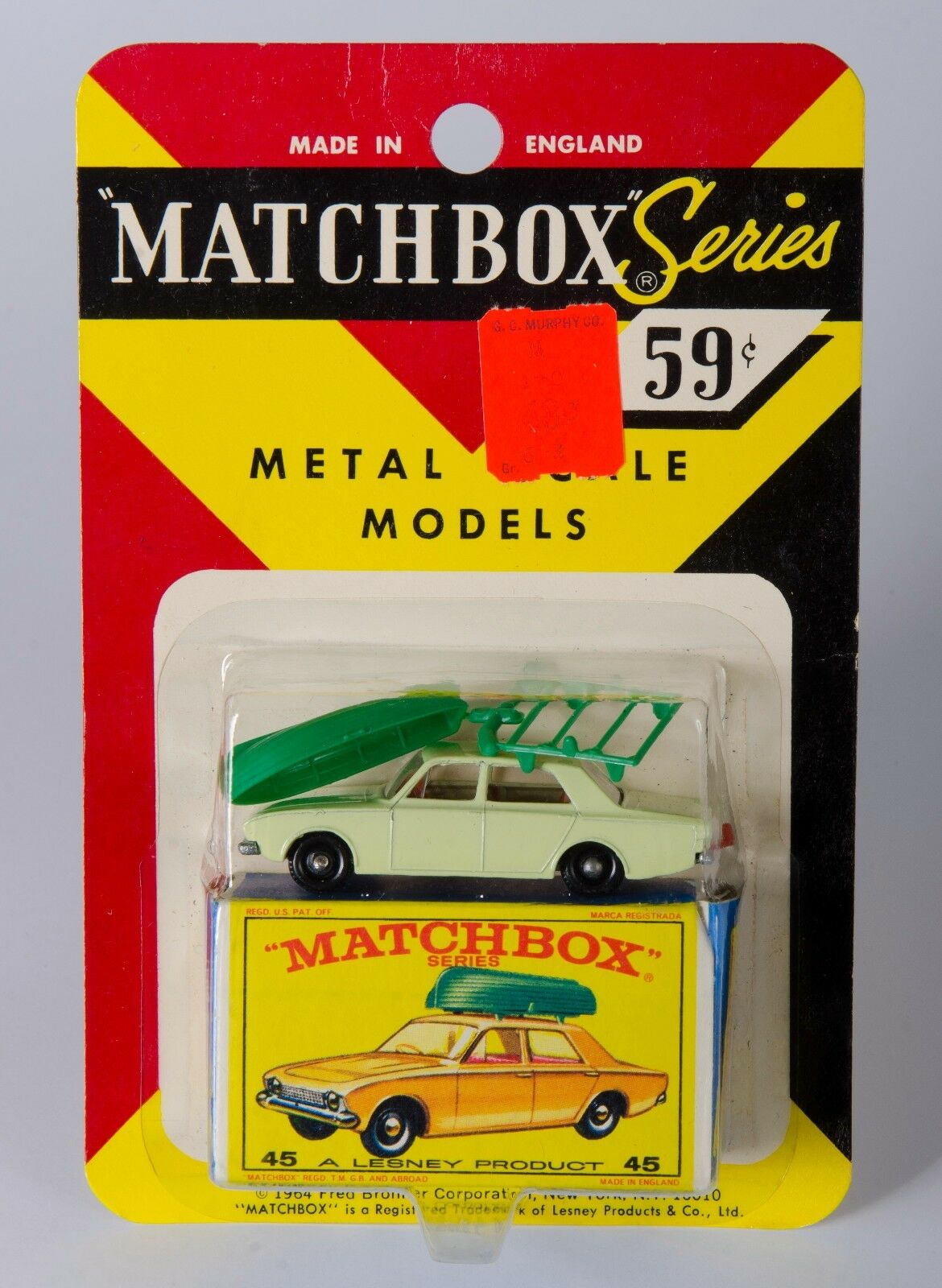 MATCHBOX USA Frosso Bronner  45  FORD CORSAIR & Barca. Nuovo di zecca IN BLISTER ANNI 1960 card.