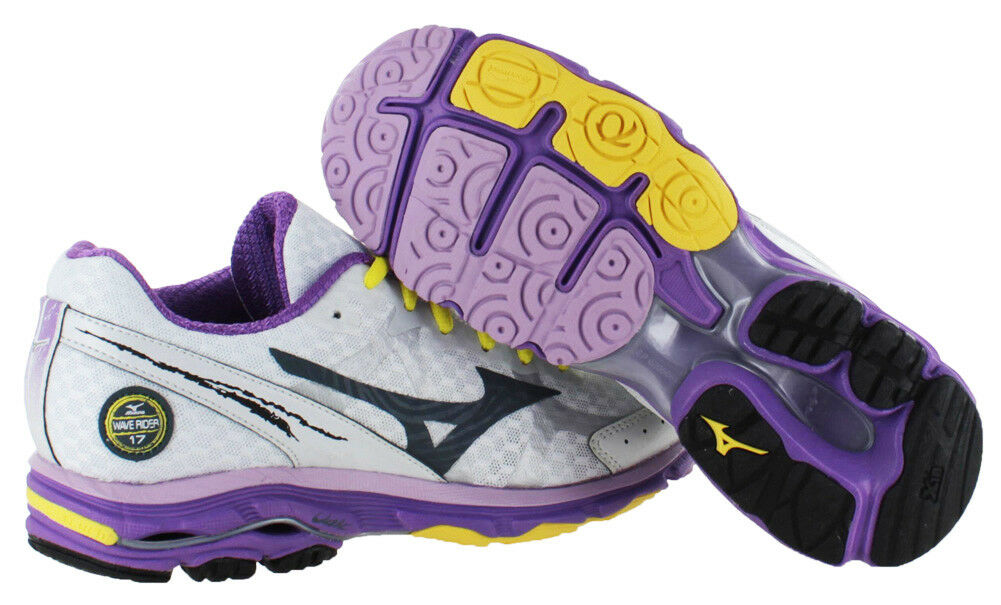 9fc3ad07e025 Neuf Mizuno Femmes Vague Rider Rider Rider 17 Chaussures Course - Blanc -  Taille 9 Rare 9ff334
