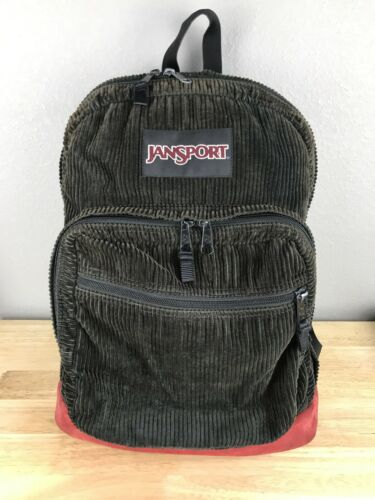 Vintage Jansport Corduroy Backpack 90's Leather Bo