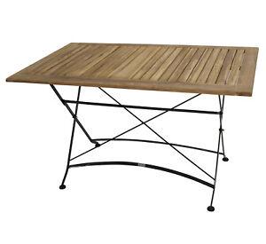 Details Zu Klapptisch Gartentisch Esstisch Gartenmobel Tisch Jakarta 75x125cm Metall Teak