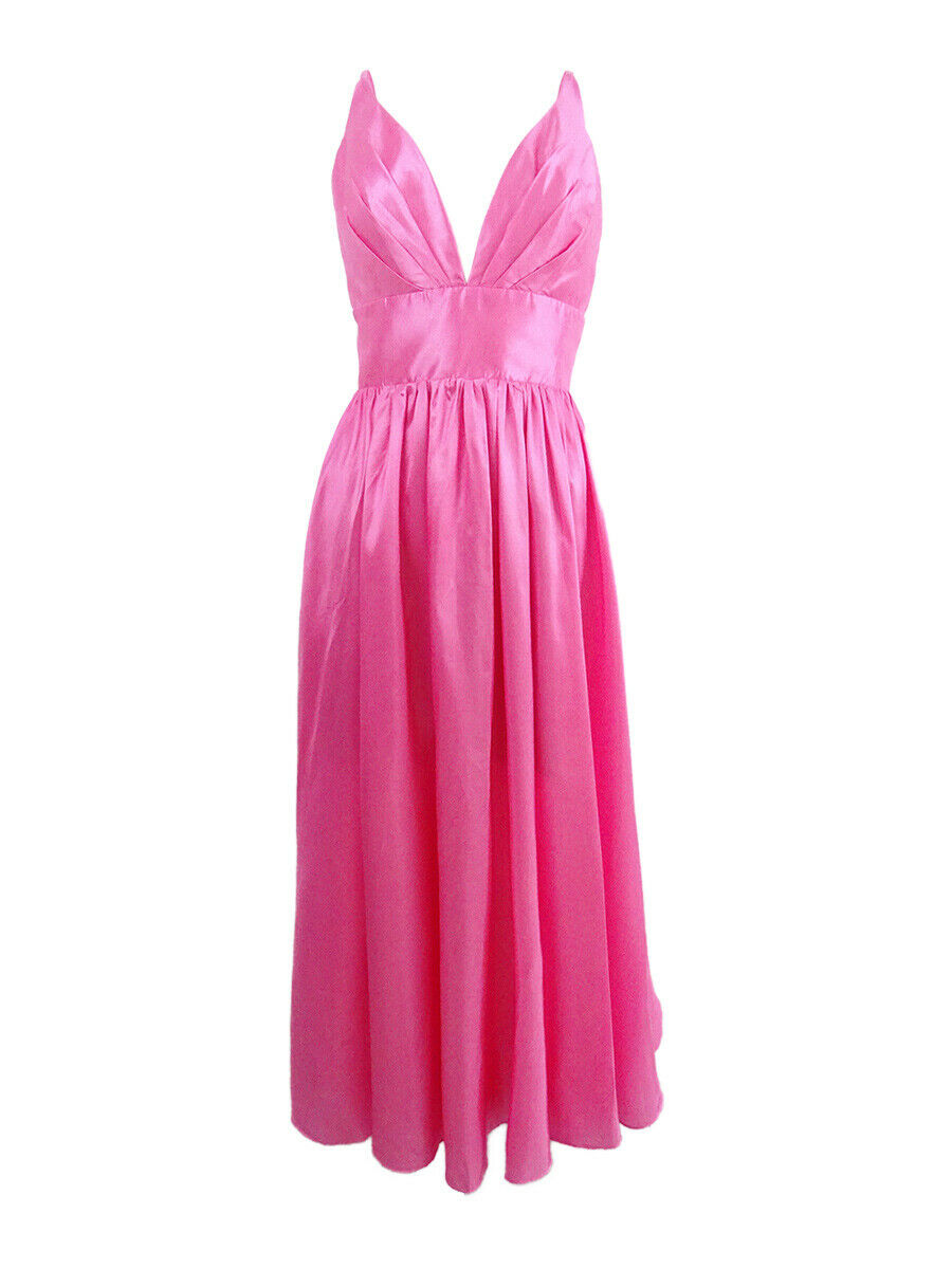 Fame and Partners Woherren V-Neck Dress with Full Skirt (10, Rosa)