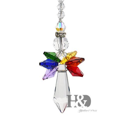 Handmade Rainbow Crystal Guardian Angel Chakra Suncatcher Car Charm Home Decor