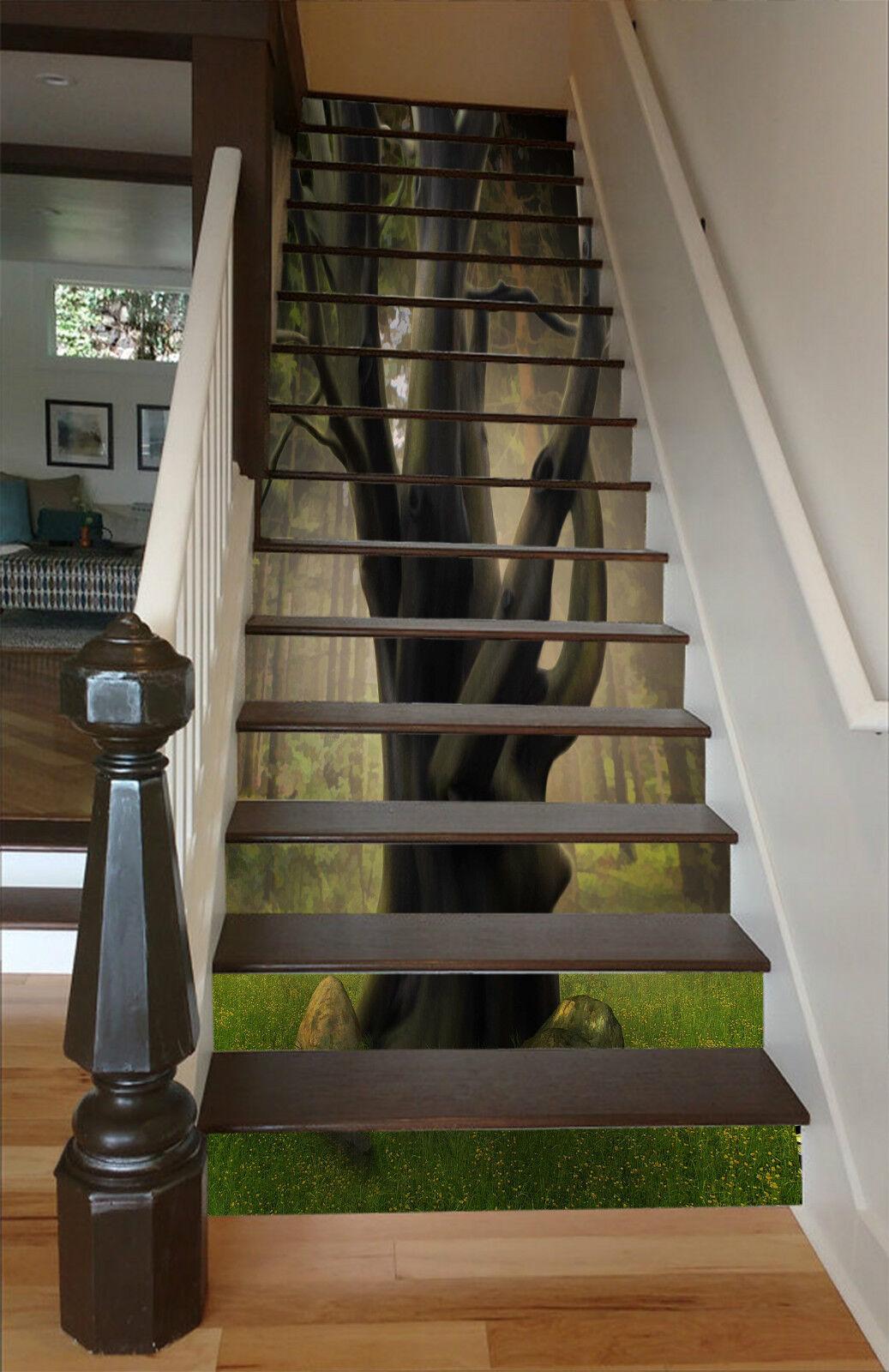 3d Forêt Arbre 036 Stair Risers Décoration Papier Peint Vinyle Autocollant Papier Peint De