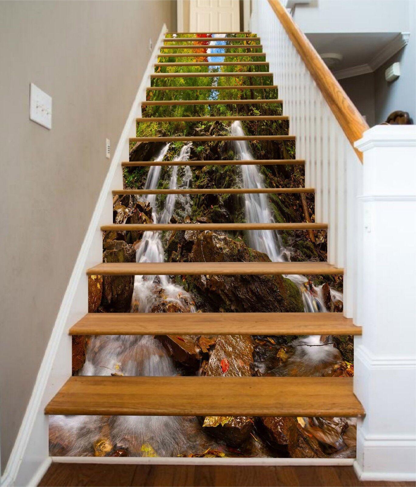 3D Stream Tree 6 Stair Risers Decoration Photo Mural Vinyl Decal Wallpaper CA