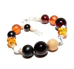 Elegant-Modern-Unique-Genuine-Baltic-Amber-925-Sterling-Silver-Amber-Bracelet