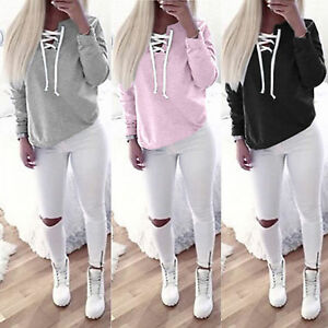 Damen-Lace-up-Bluse-Sweatshirt-Pullover-Pulli-Tops-Oberteile-Langarm-Shirt-S-XL