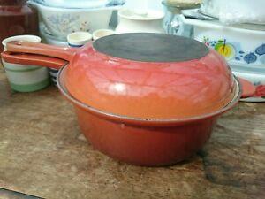 Le-Creuset-Marmitout-Saucepan-Frying-Pan-Set-22cm-Orange-Brown-Cast-Iron