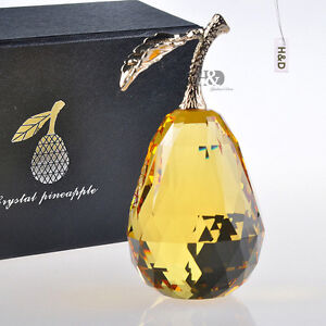 Crystal-Paperweight-Glaze-Yellow-3D-Pear-Figurine-Glass-Ornament-Xmas-Decor-Gift