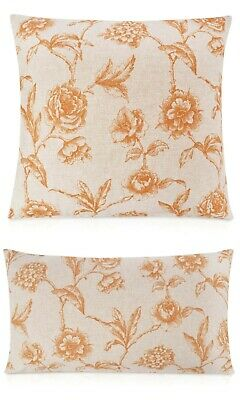 "Terracotta Orange. 17x17/"" 100/% Linen Printed Kilim Ikat Cushion Double Sided"