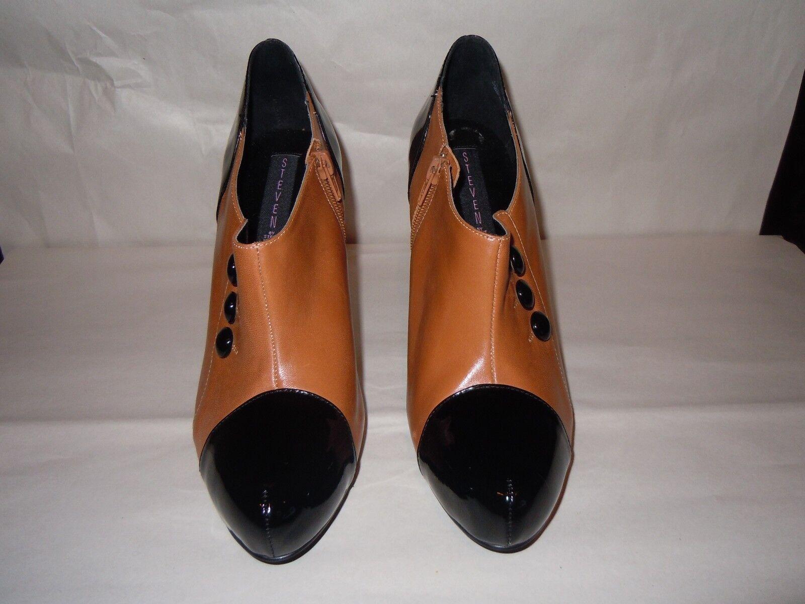 Steve Madden High Heel Booties  Tan Black Leather  Size 9.5