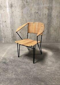 Wrought Iron Rattan Arm Chair Mcm Attrib Gio Ponti Grossman Raoul Guys Prouve Ebay