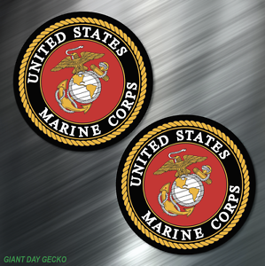 2-TWO-US-MARINES-Vinyl-Decal-Sticker-For-Car-Laptop-Skateboard-NEW-USA-Marine