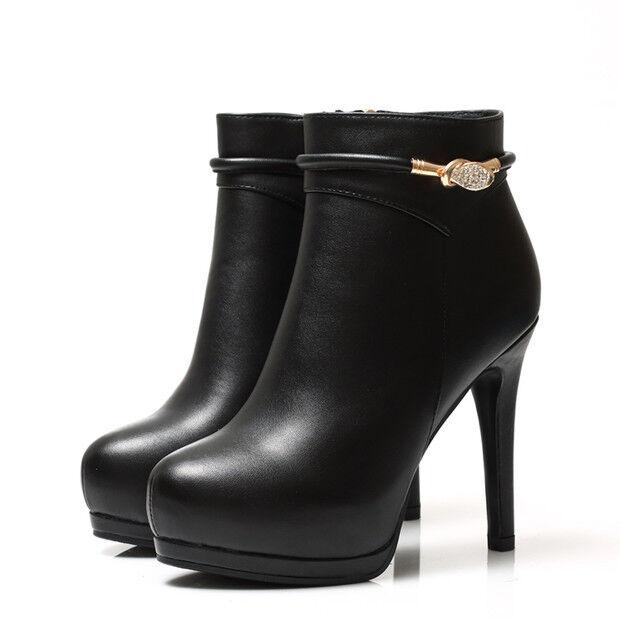 Stiefel niedrig stilett schuhe stilett niedrig 10 cm klar elegant simil leder 9452 5fc04f