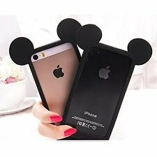 iPhone SE 5S - SOFT SILICONE RUBBER TPU SKIN CASE COVER BLACK MICKEY MOUSE EARS