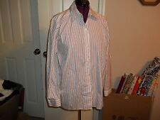 DONCASTER LADIES SIZE 16 BUTTON UP SHIRT BURGANDY & WHITE STRIPED LONG SLEEVES