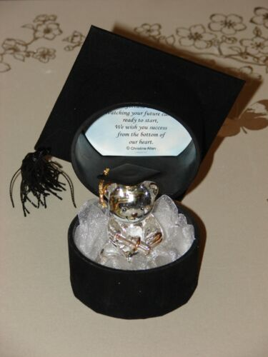 Graduation Gift Crystal Glass Teddy Black Mortar Hat Personalised Novelty #7