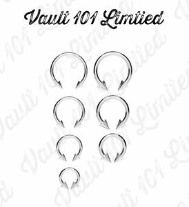 Surgical-Steel-Horseshoe-Bar-Lip-Nose-Septum-Ear-Ring-Various-Sizes-WITH-CONES
