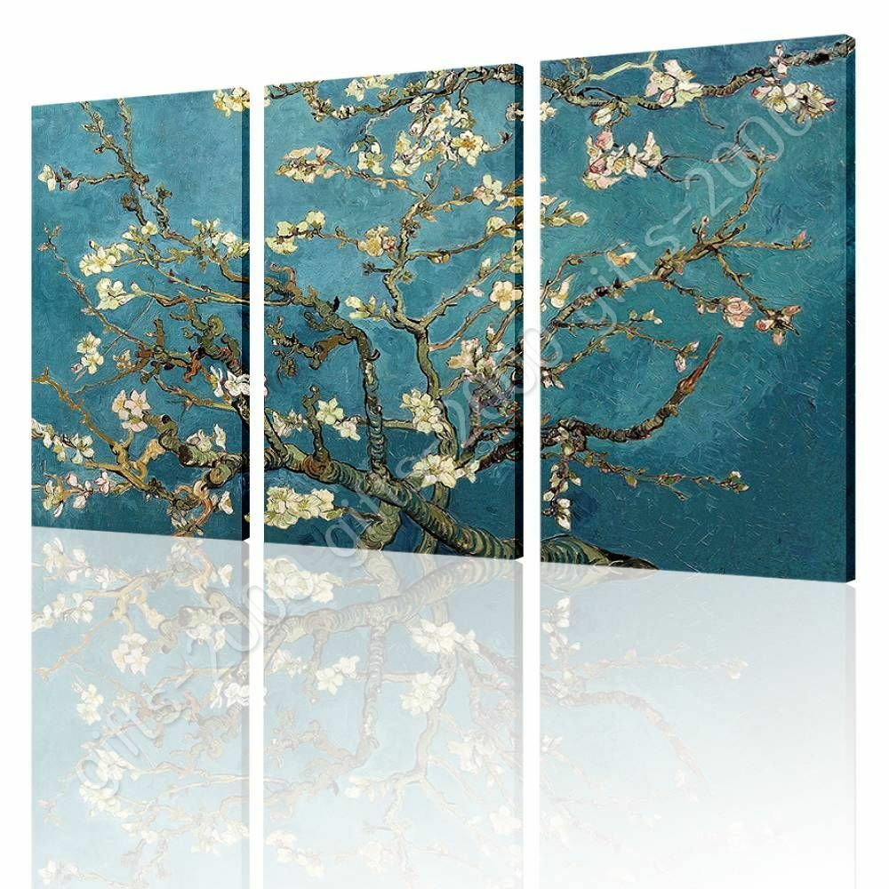 Almond Blossom by Vincent Van Gogh   Canvas (Rolled)   3 Panels Wall art HD
