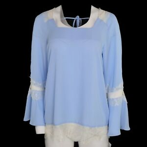 NY-Collection-Womens-Lace-Trimmed-Bell-Sleeve-Silky-Top-Size-Med-Light-Blue-NWT
