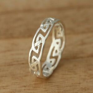 Solid 925 Sterling Silver Celtic Knot Band//Thumb Ring N-Z Sizes 7 mm Celtic Ring