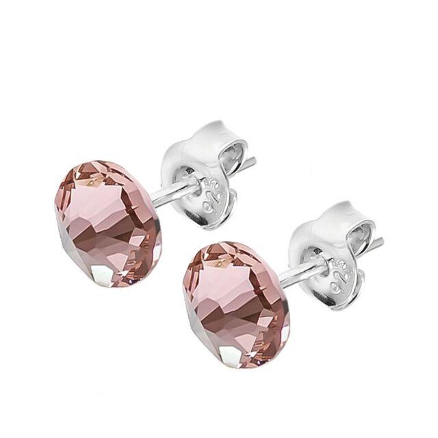 best quality discount sale 100% satisfaction 925 Sterling Silver Stud Earrings Xirius Vintage Rose 7mm Swarovski Crystals