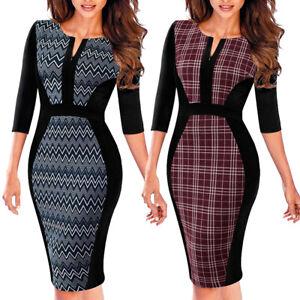 Elegant-Women-3-4-Sleeve-Work-Business-Office-Dress-Formal-Bodycon-Sheath-Dress