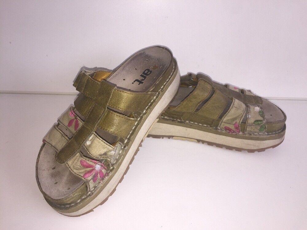 Sandalias Mujer Arte verde impresionante impresionante impresionante mulas Uk8 EU41 flat zapatos albarcas  mejor oferta