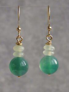 Green Agate & New Jade Semi Precious Stone Dangle Hook Earrings