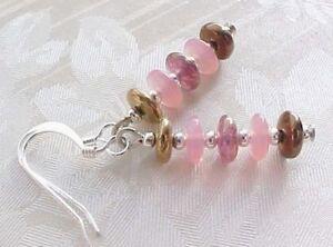 Minimalist-Earrings-Pink-Glass-Collector-Czech-Disc-Stack-Brown-Tween-Girl-Gift