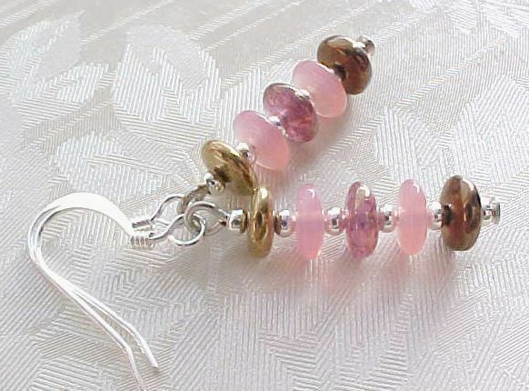 Minimalist Earrings Pink Glass Collector Czech Disc Stack Brown Tween Girl Gift