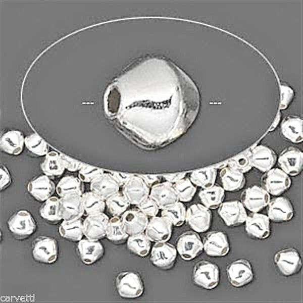 5mm Silver Plated Brass Double Cone (Bicone) Beads (100)