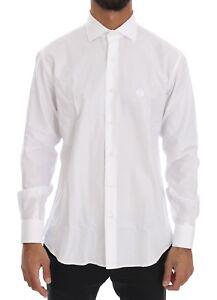 NEW  260 ROBERTO CAVALLI Shirt Dress White Striped Slim Fit Men IT42 ... 71ea8cf1b