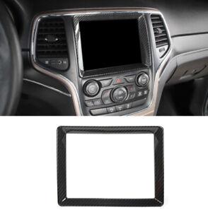Carbon Fiber Navigation Screen Decor Frame Trim For Jeep Grand Cherokee 2011-20