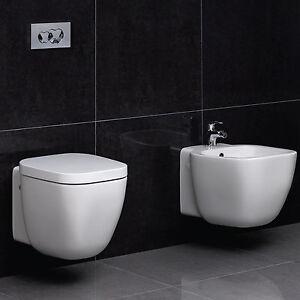 Sanitari bagno sospesi design x arredo moderno ceramica serie salvaspazio coppia ebay - Ceramica bagno moderno ...