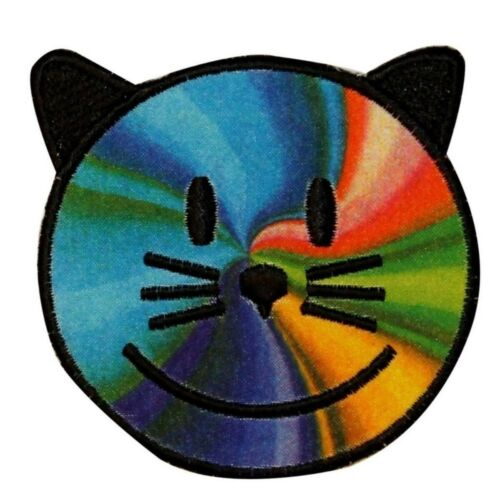 Rainbow Cat Smiley Face Patch Happy Tie Dye Swirl Embroidered Iron On Applique