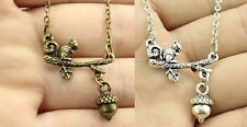 "#3 1/"" SQUIRREL ON A LIMB with Dangle ACORN Pendant 18/"" Link Chain Necklace"