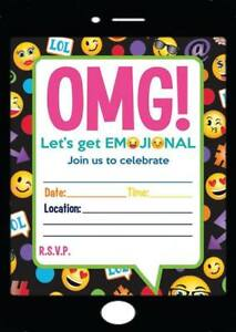 Image Is Loading EMOJI THEME BIRTHDAY PARTY INVITATIONS KIDS INVITES CHILDRENS