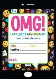 emoji theme birthday party invitations kids invites childrens smiley