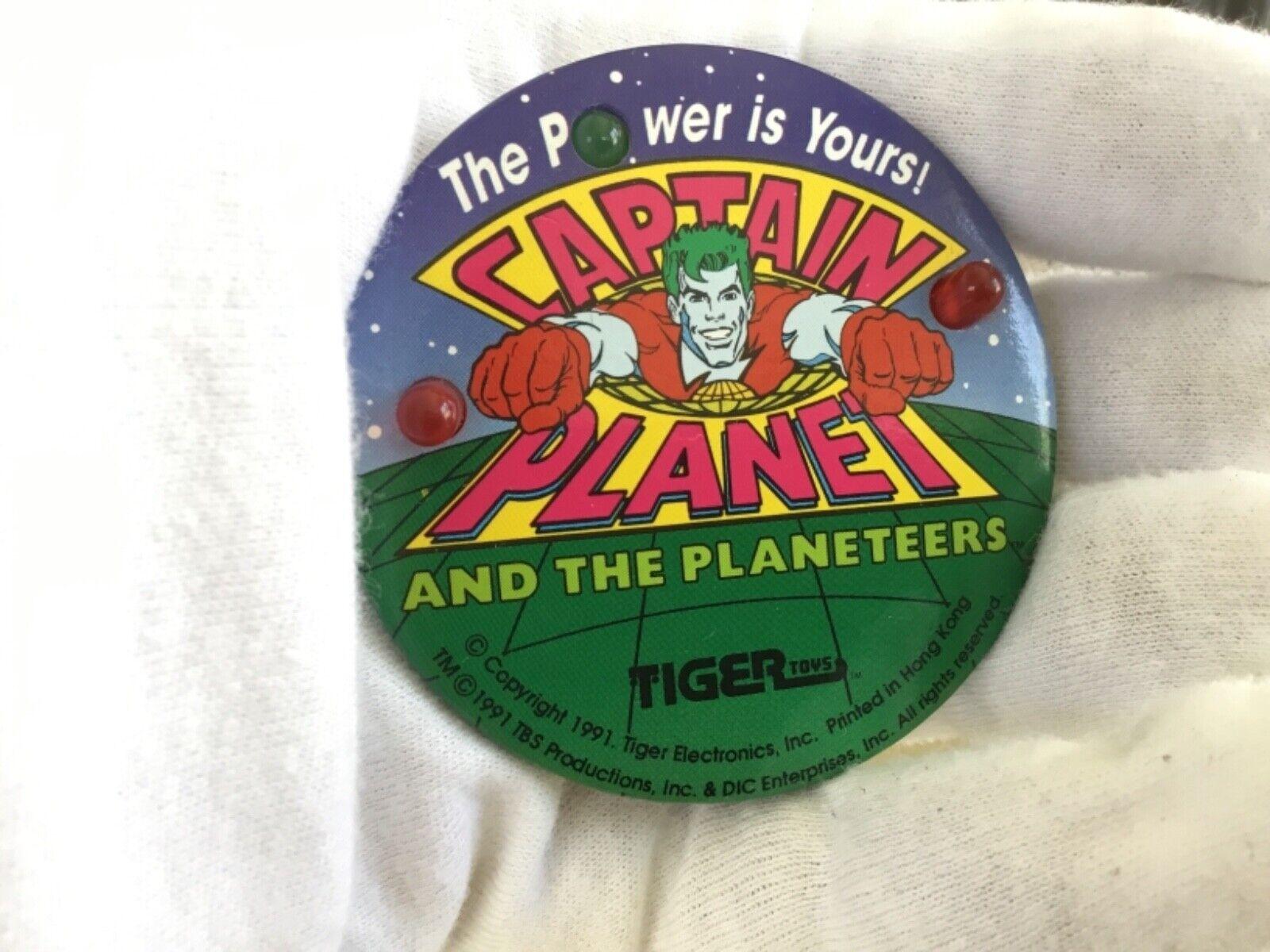 CAPTAIN PLANET LED ELECTRONIC LIGHT UP BUTTON TIGER TOYS 1991 VINTAGE