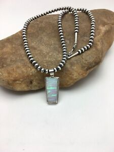 Mens-Native-Navajo-Pearls-Sterling-Silver-Necklace-White-OPAL-Pendant-2822